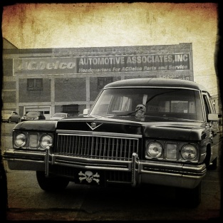 Craig's hearse in downtown Winston-Salem
