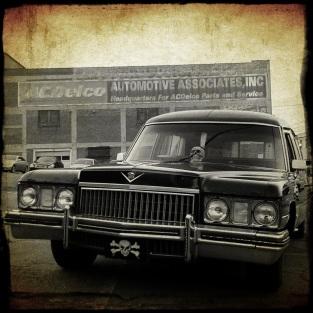 Craig's hearse in downtown Winston-Salem